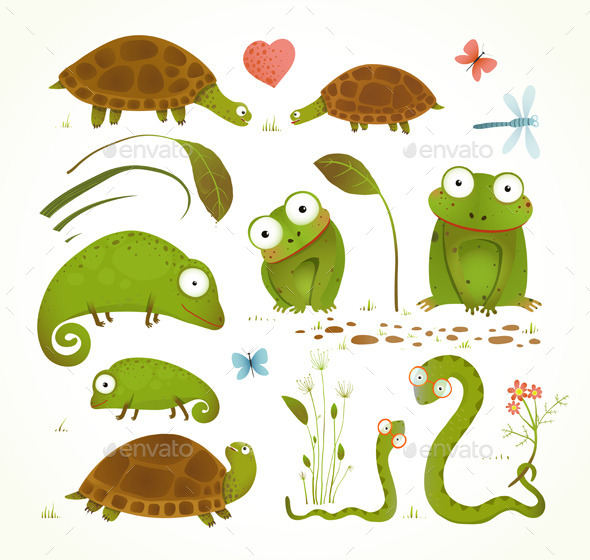 GraphicRiver Cartoon Green Reptile Animals 9748081