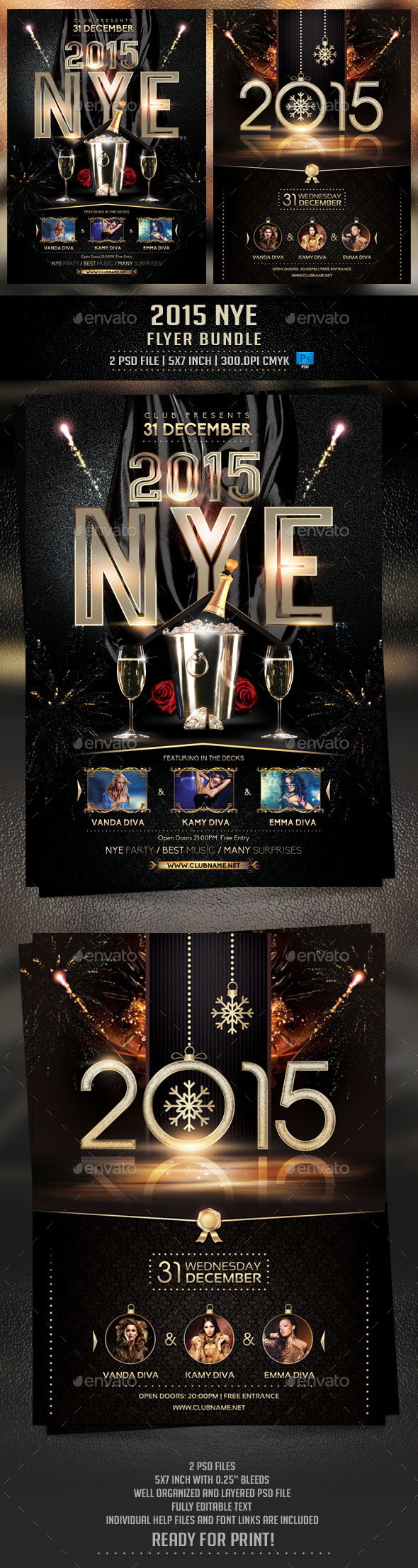 GraphicRiver 2015 NYE Flyer Bundle 9748087