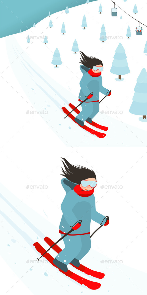 Young Girl Slides from Mountain Slope