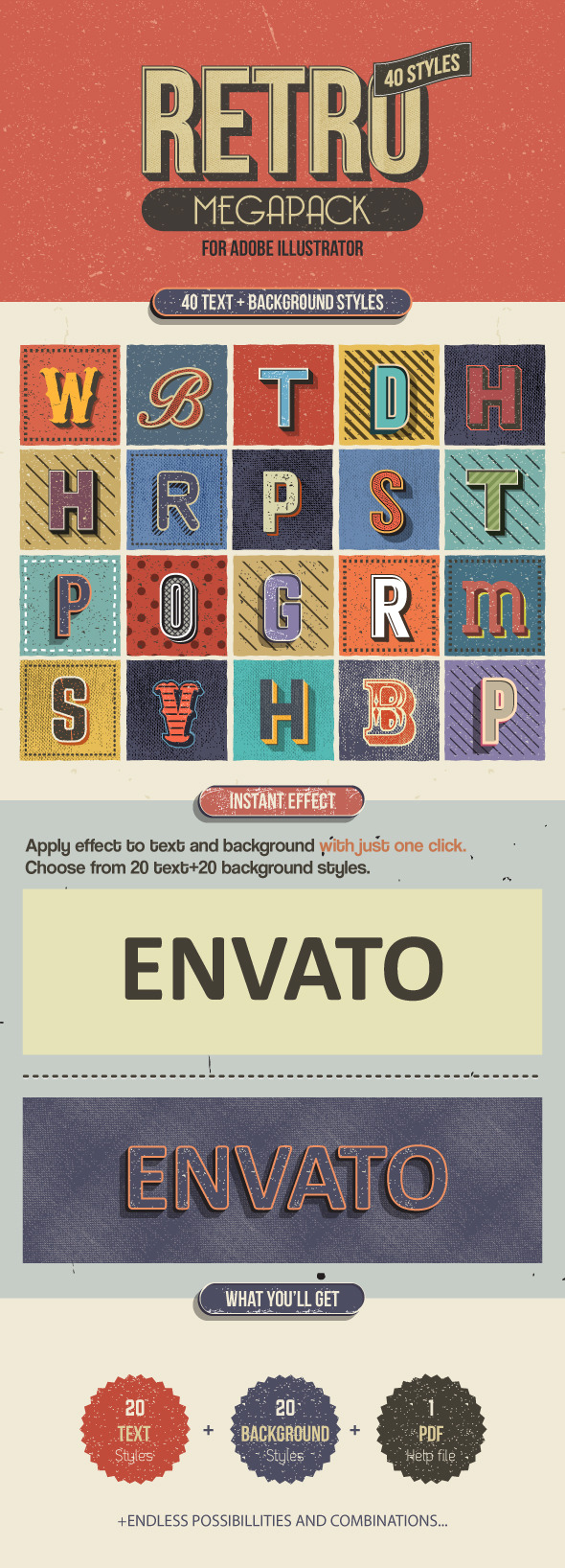 GraphicRiver Retro Megapack for Illustrator 9748129