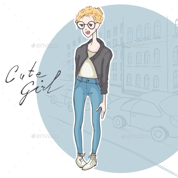 GraphicRiver Modest Hipster Girl 9748140
