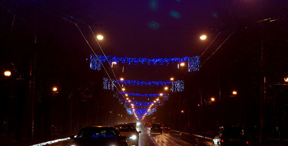 Night Traffic On Boulevard Prepared For Winter