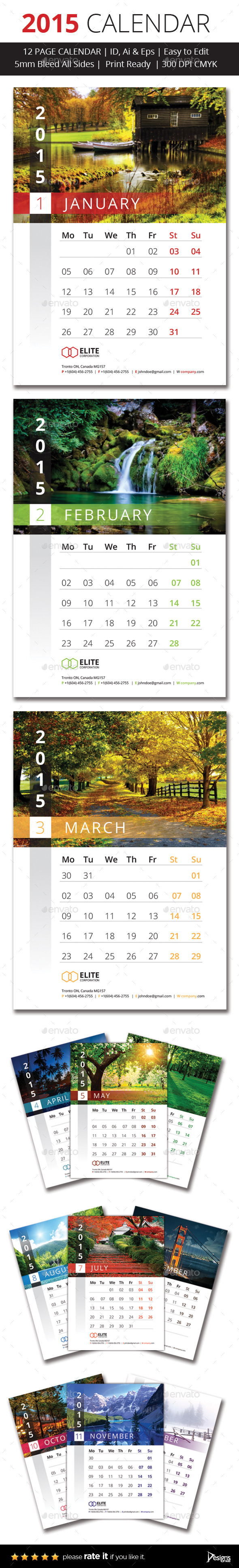 GraphicRiver 2015 Wall Calender 9749185