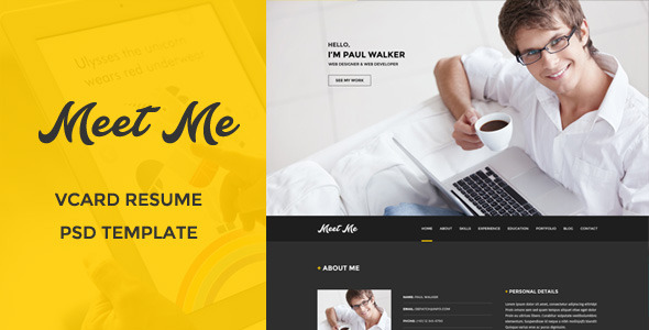 ThemeForest Meetme Vcard Resume PSD Template 9749509