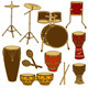 Isolated Icons of Drum Kit and Percussion - GraphicRiver Item for Sale