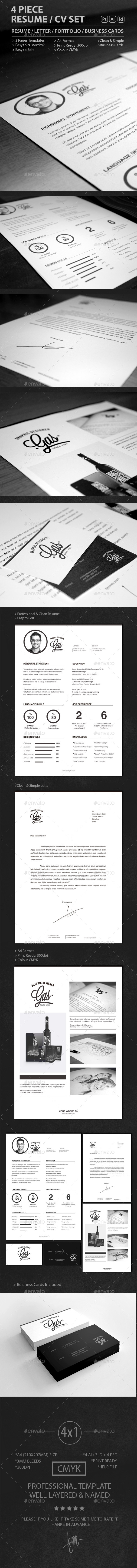4 Piece Resume / CV SET