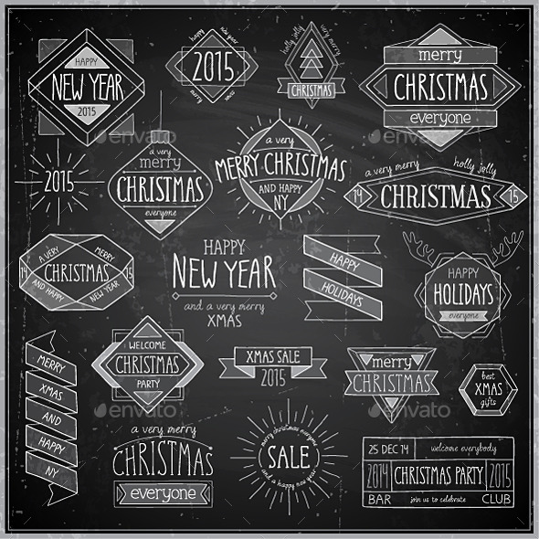 GraphicRiver Christmas Hand Drawn Emblems Set 9750260