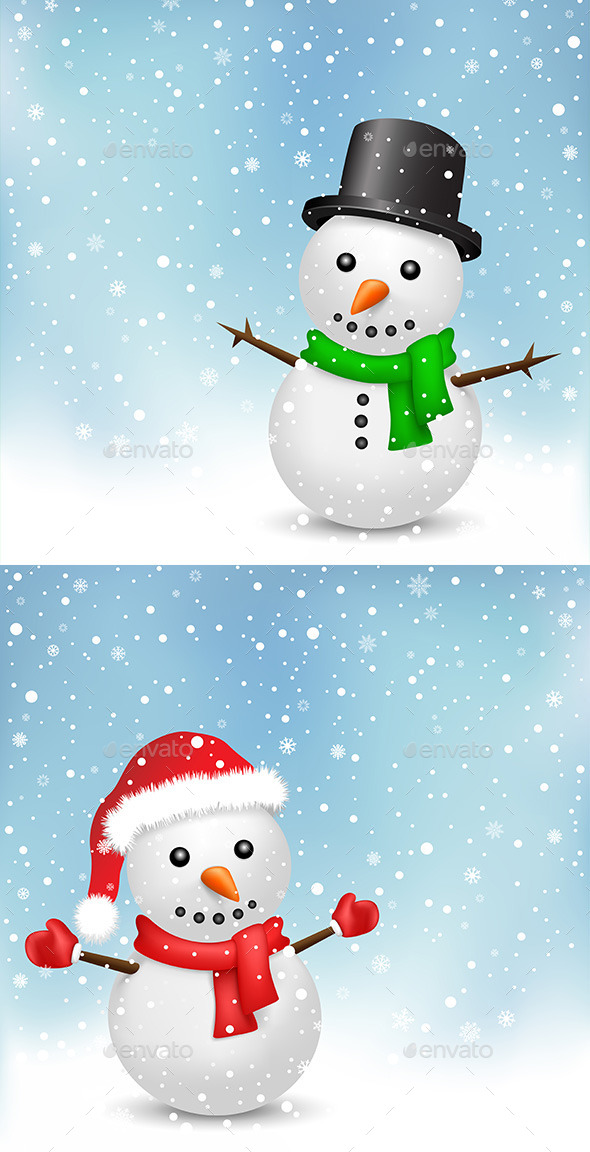 GraphicRiver Snowman and Snowfall 9750470