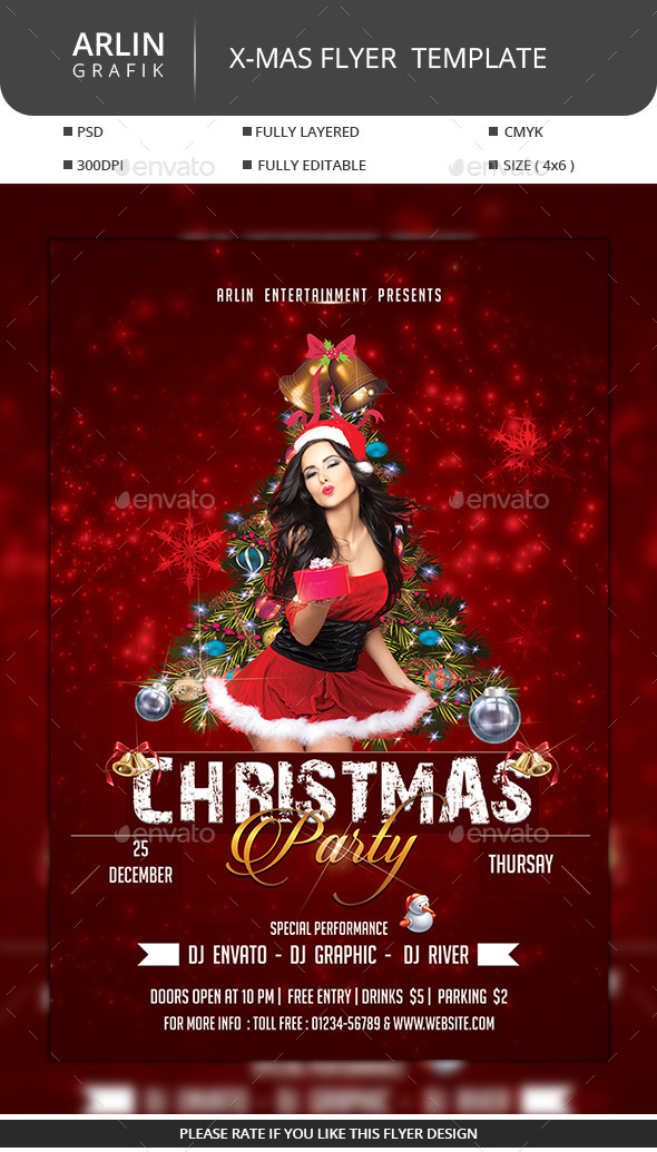 GraphicRiver Christmas Party Flyer 9750639