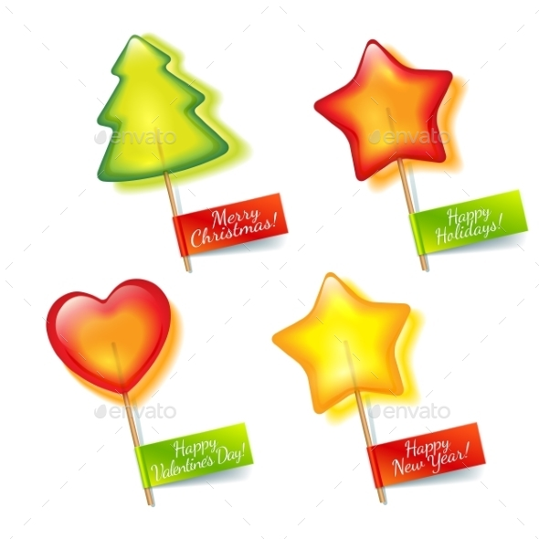 GraphicRiver Four Bright Holiday Lollipops 9750642