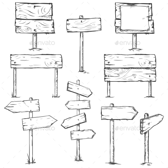 GraphicRiver Set of Sketch Signposts 9750661