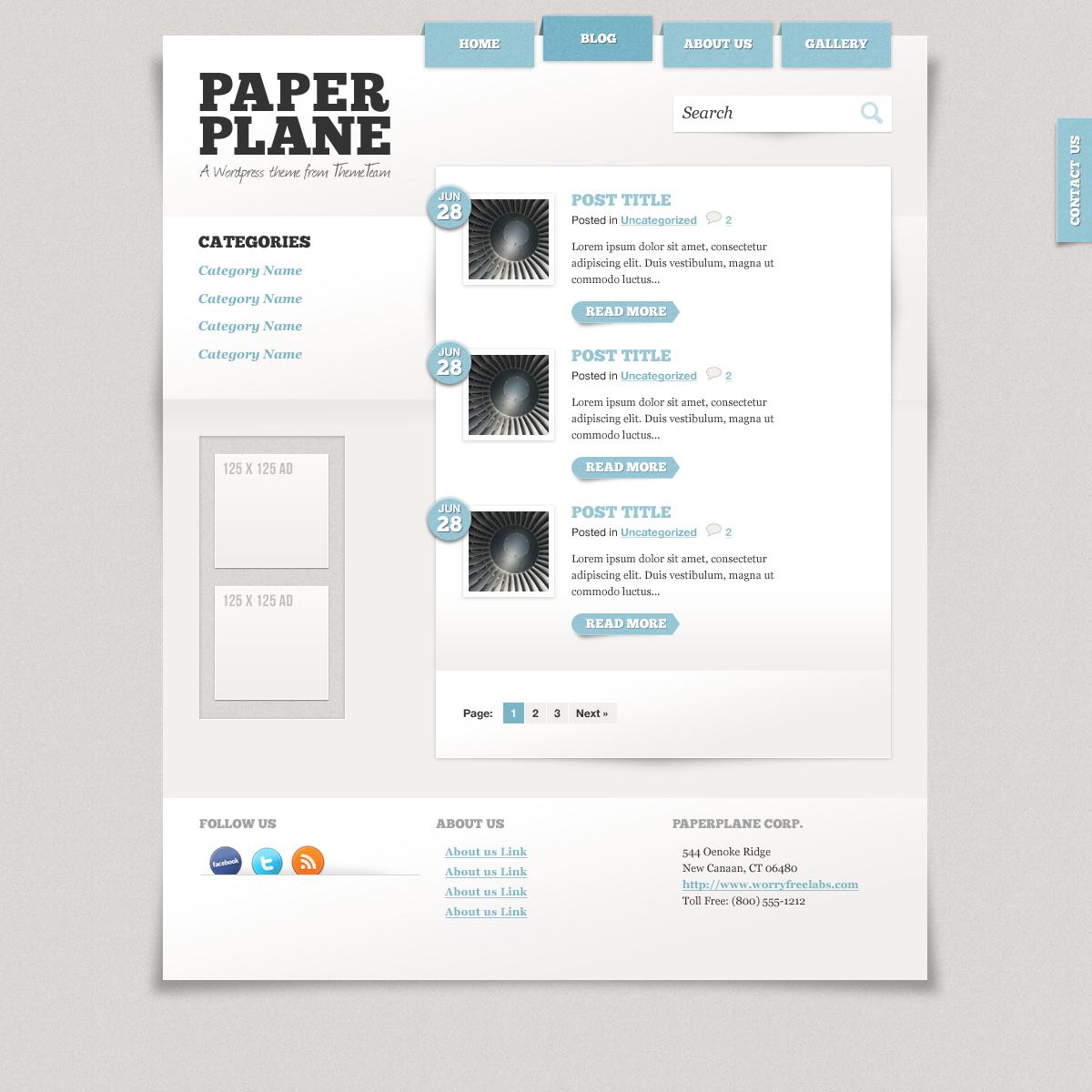 Paper Plane Wordpress Theme