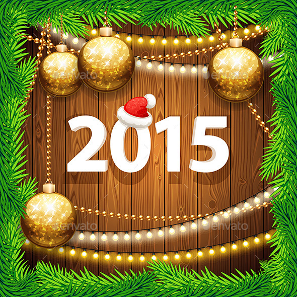 GraphicRiver Happy New Year 2015 on Wooden Background 9712539
