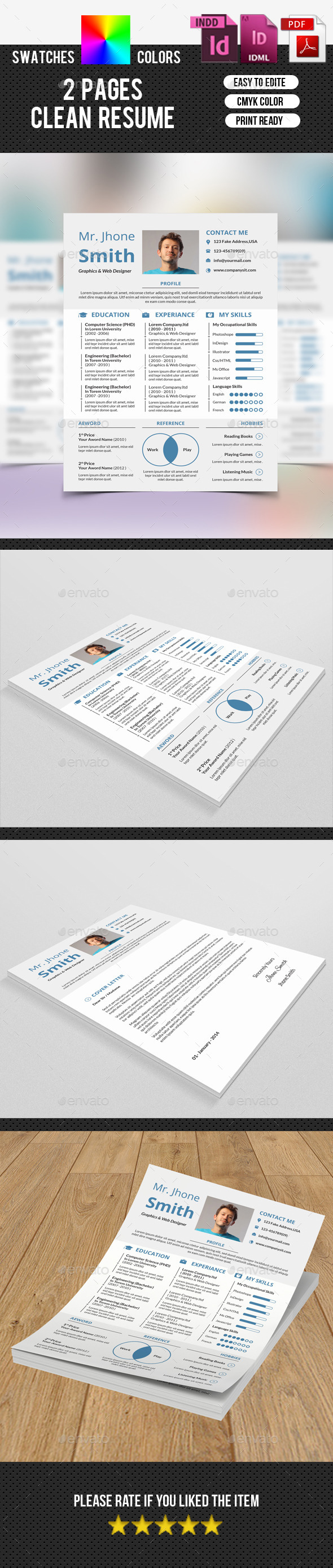 GraphicRiver Clean Resume-V12 9751626