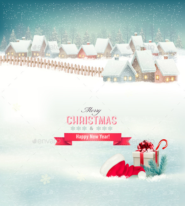 GraphicRiver Holiday Christmas Background with a Village 9713229