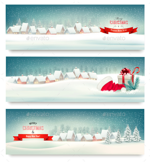 GraphicRiver Holiday Christmas Banners with Villages 9713008