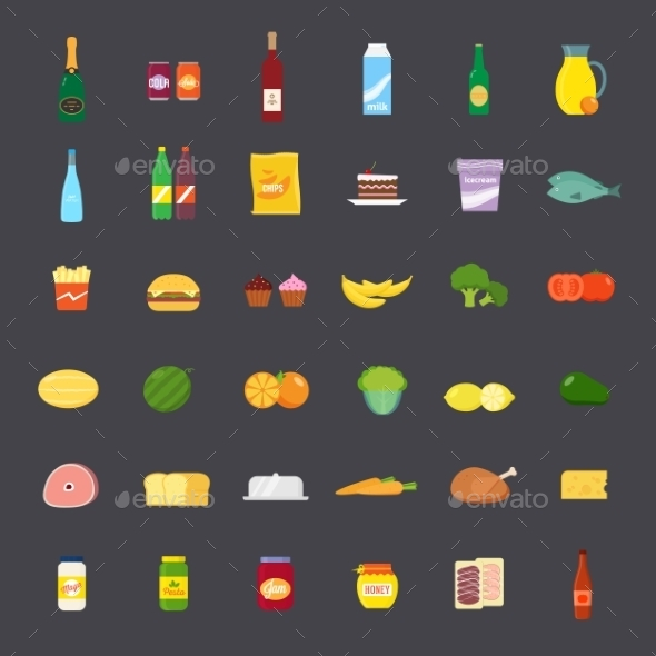 GraphicRiver Flat Style Food and Beverages Icon Set 9752104