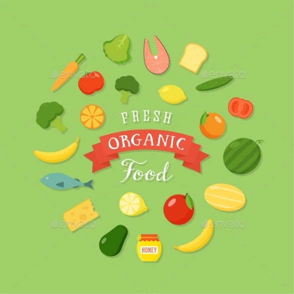GraphicRiver Fresh Organic Food Flat Style Icon Set 9752106