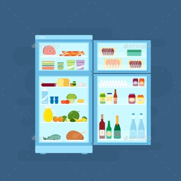 GraphicRiver Refrigerator with Food Icons Flat Style 9752117