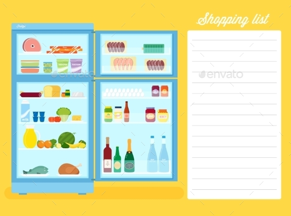 GraphicRiver Shopping List Flat Style Refrigerator Illustration 9752123