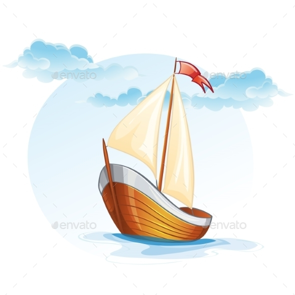 GraphicRiver Cartoon Image of a Wooden Sailing Boat 9752207