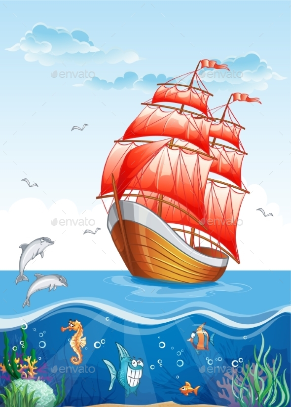 GraphicRiver Children s Illustration of a Sailboat with Red Sail 9752301