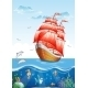 Children's Illustration of a Sailboat with Red Sail - GraphicRiver Item for Sale