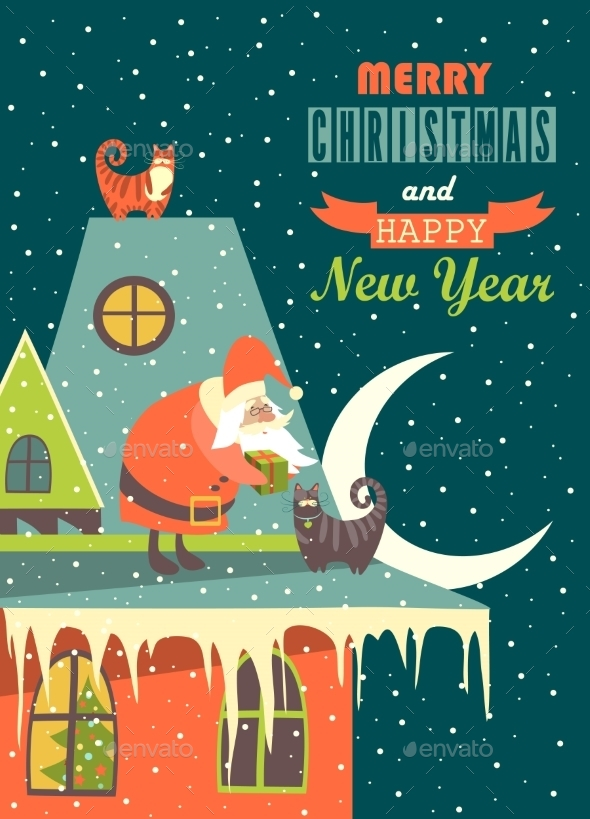 GraphicRiver Santa Claus Gives Christmas Gift to a Cat 9752367