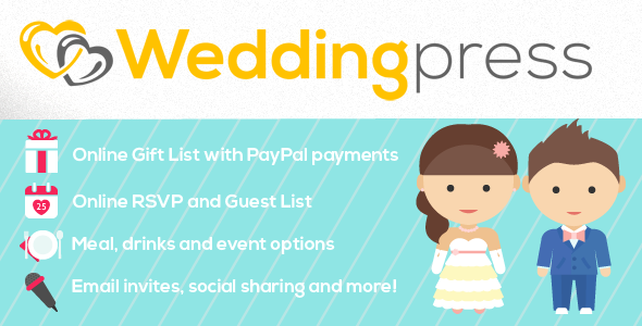 About this plugin Weddingpress makes it easy to have your very own wedding website where people can buy you gifts and reply to your invites safely and easily. I