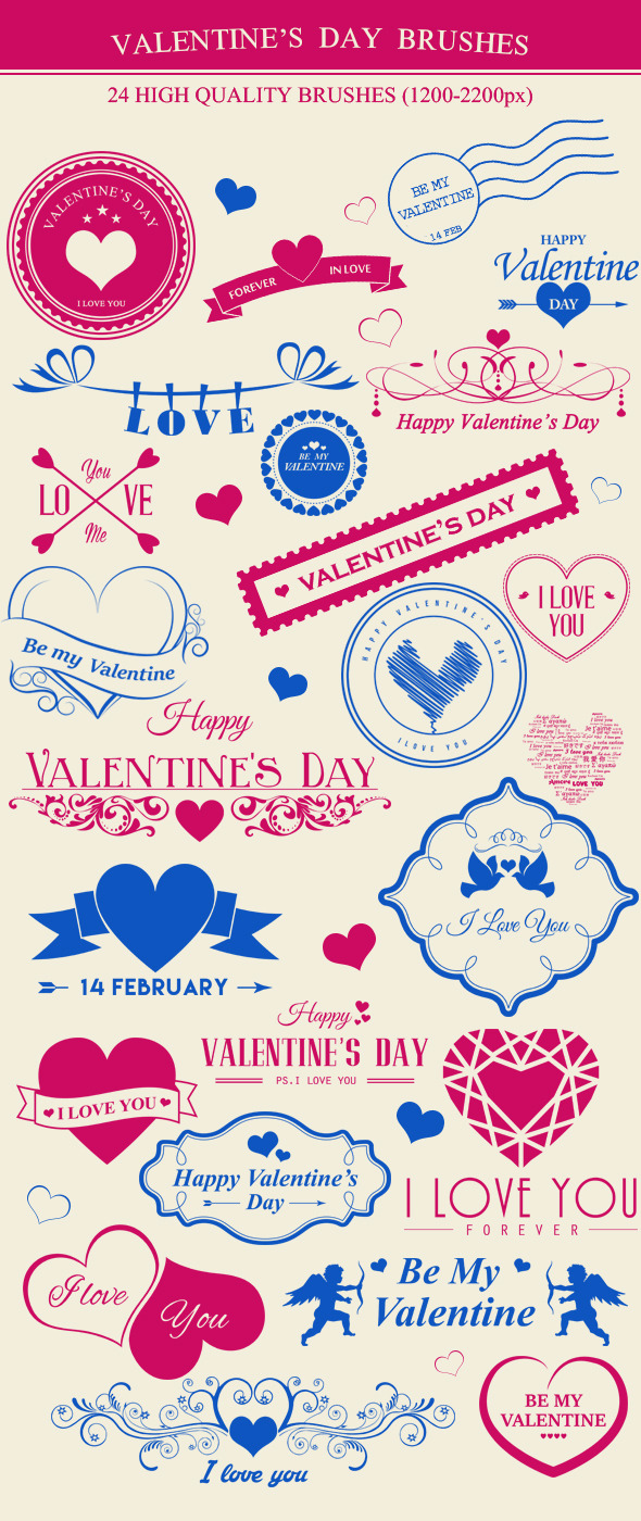 GraphicRiver Valentine s Day Brushes 9753894