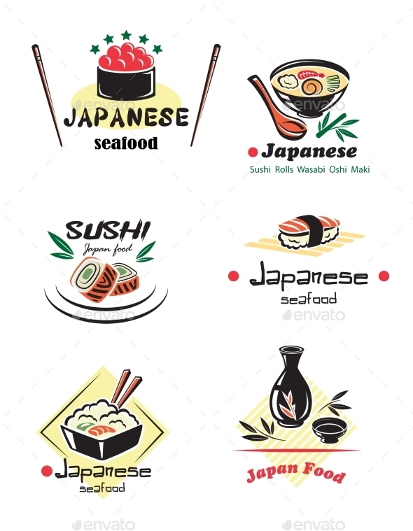 GraphicRiver Colored Japanese Seafood Set 9754489