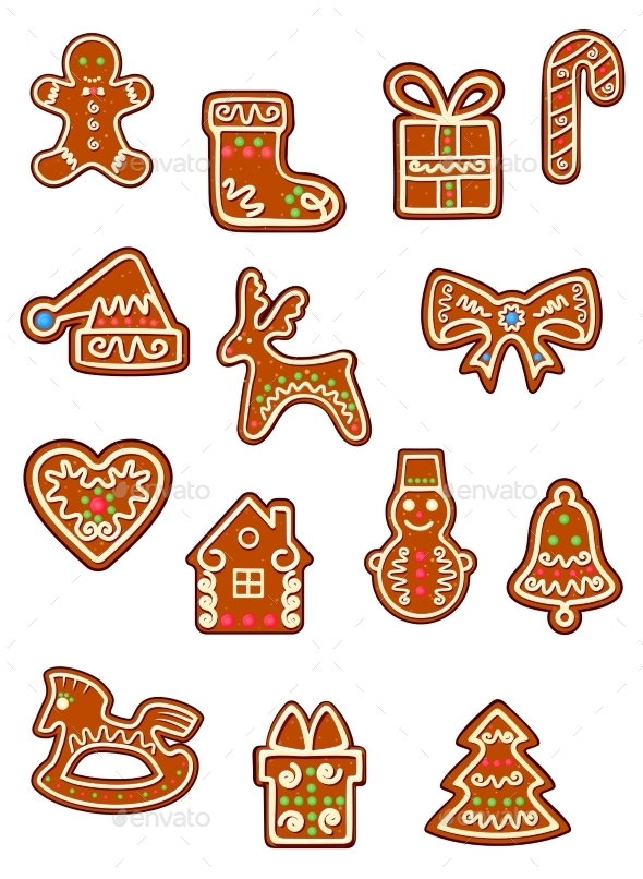 GraphicRiver Brown Christmas Gingerbreads and Cookies 9754964
