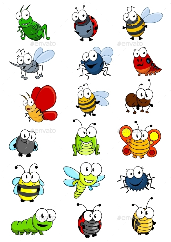 GraphicRiver Cartooned Insects Set 9755108