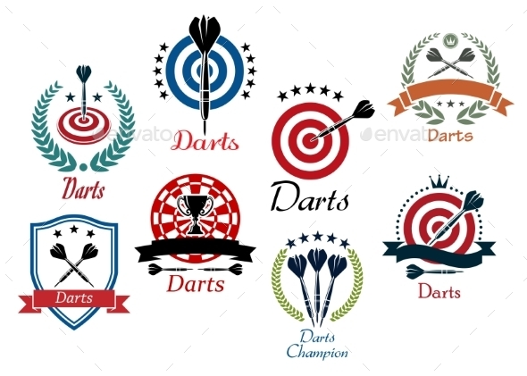 GraphicRiver Darts Sporting Emblems 9755113