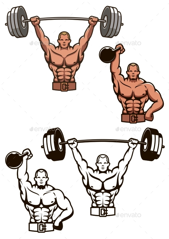 GraphicRiver Bodybuilder Lifting Weights 9755165