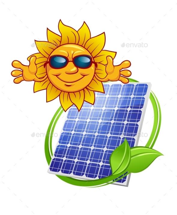 GraphicRiver Solar Panel with Cartoon Sun 9755195