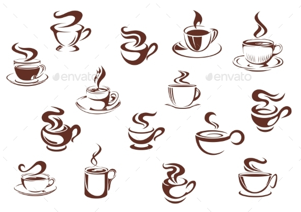 GraphicRiver Assorted brown cups of hot coffee 9755284