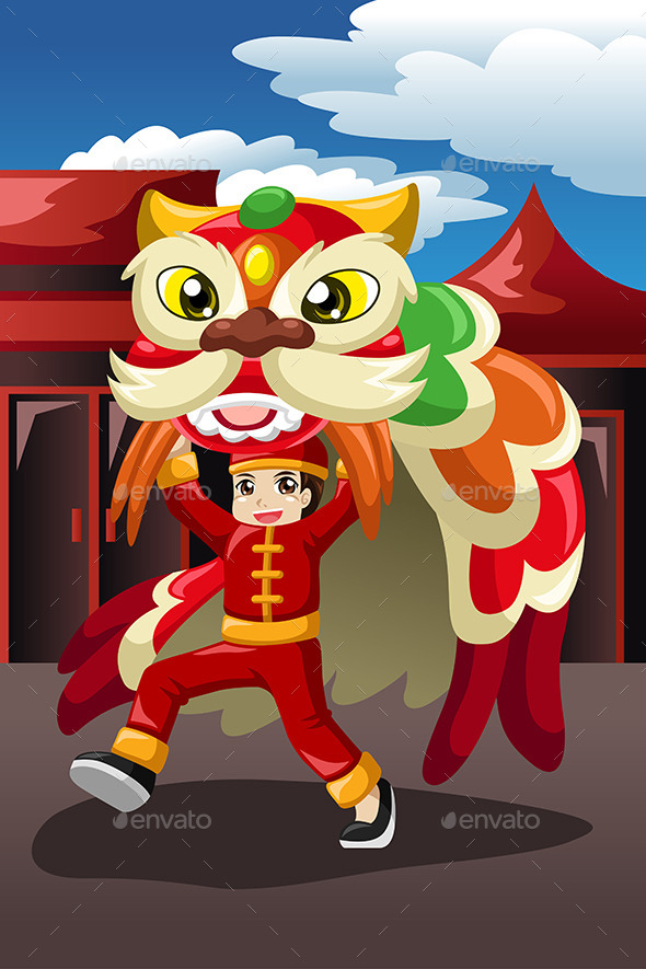 GraphicRiver Boy Doing a Lion Dance 9755378