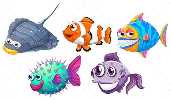 GraphicRiver Five Different Fishes 9755402