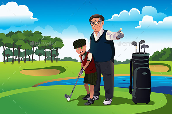 GraphicRiver Grandfather Teaching his Grandson Playing Golf 9756389