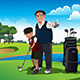 Grandfather Teaching his Grandson Playing Golf - GraphicRiver Item for Sale