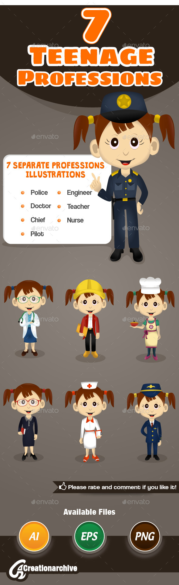 GraphicRiver 7 Teenage Professions 9756409