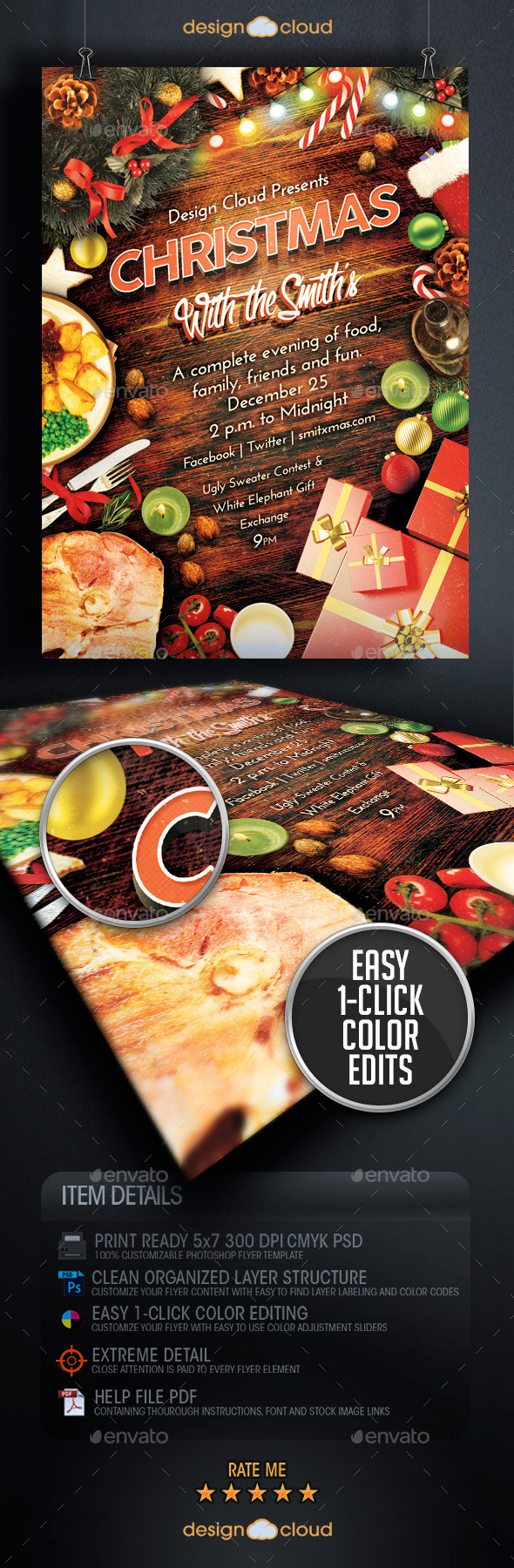GraphicRiver Christmas Family Dinner and Party Flyer Template 9756509