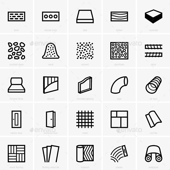 GraphicRiver Building Materials Icons 9756533