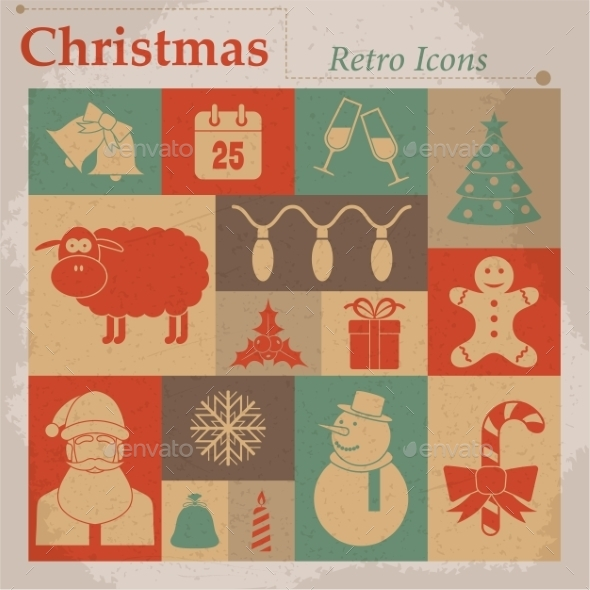 GraphicRiver Christmas Vector Retro Icons 9756847