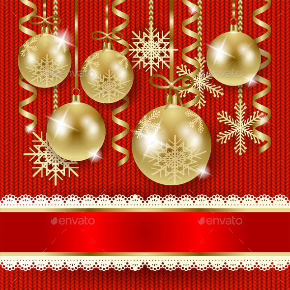 GraphicRiver Christmas Illustration with Baubles in Gold 9756858