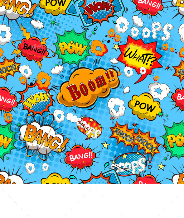 GraphicRiver Comic Speech Bubbles Seamless Pattern 9712834