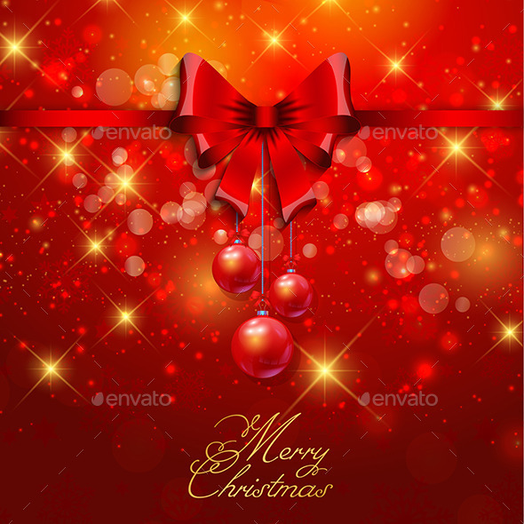 GraphicRiver Christmas Background with Red Ribbon 9758525