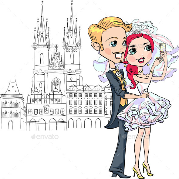 GraphicRiver Vector Bride and Groom make Selfie in Prague 9759891