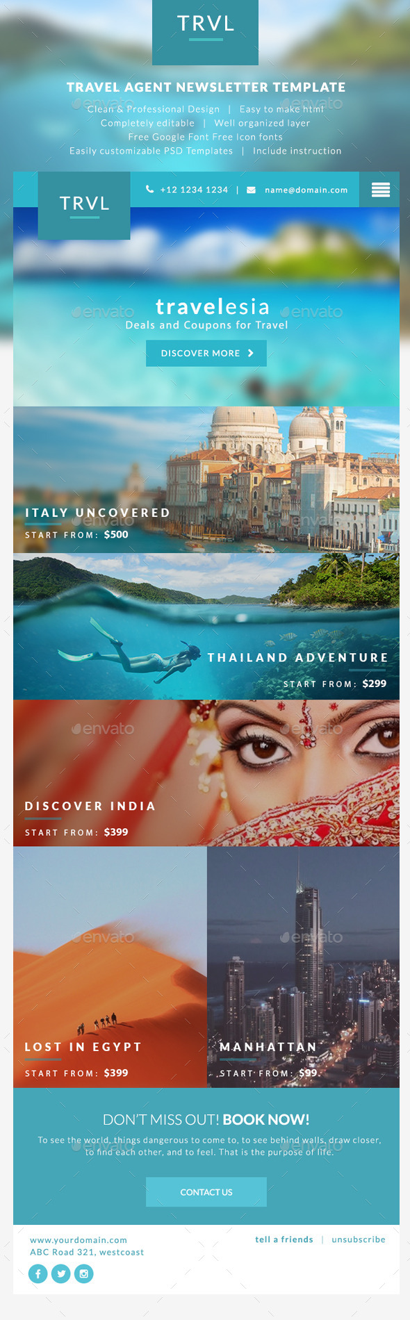 GraphicRiver Travel Agent Newsletter Templates Travelesia 9763129